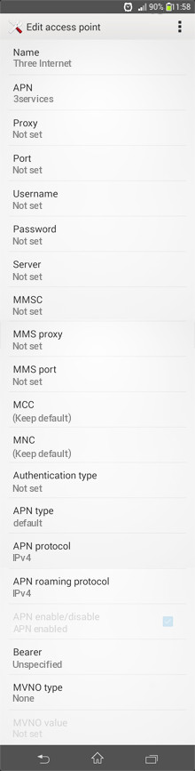 Three Internet APN settings for Android