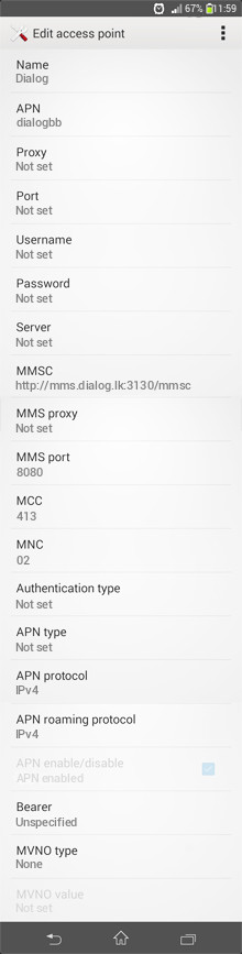 Dialog  APN settings for Android