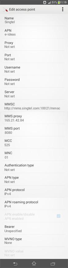 Singtel  APN settings for Android