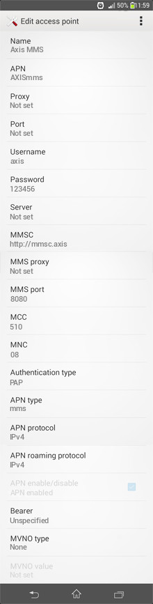 Axis MMS APN settings for Android