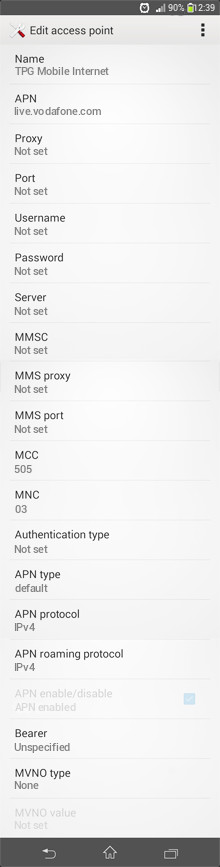 TPG Mobile Internet APN settings for Android