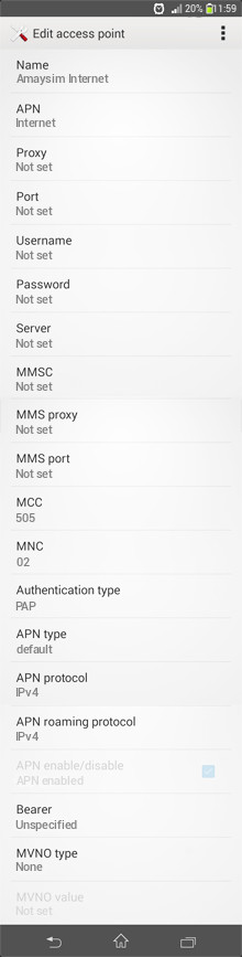 Amaysim Internet APN settings for Android