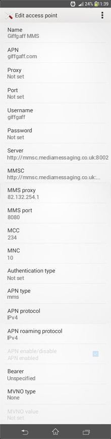 Giffgaff MMS APN settings for Android