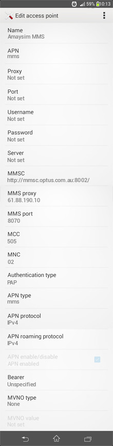 Amaysim MMS APN settings for Android
