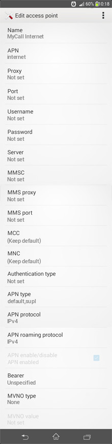 MyCall Internet APN settings for Android