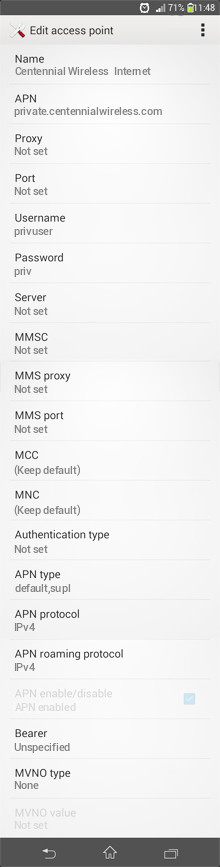 Centennial Wireless  Internet APN settings for Android