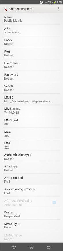 Public Mobile  APN settings for Android