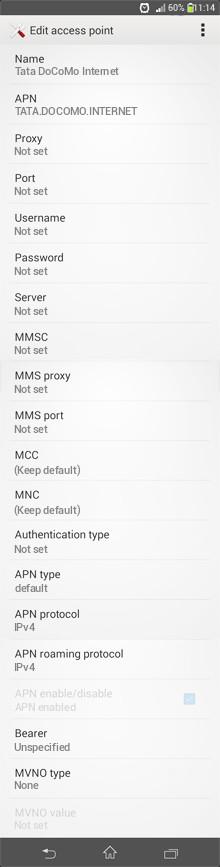 Tata DoCoMo Internet APN settings for Android
