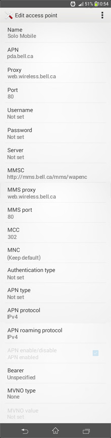 Solo Mobile  APN settings for Android
