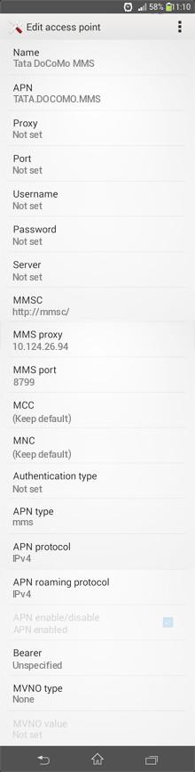 Tata DoCoMo MMS APN settings for Android