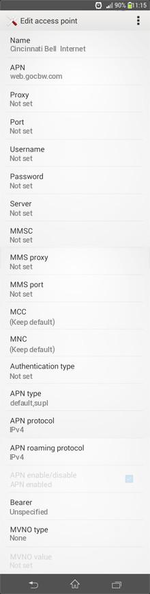 Cincinnati Bell  Internet APN settings for Android