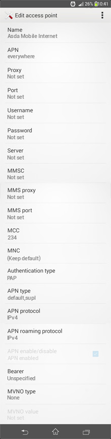 Asda Mobile Internet APN settings for Android