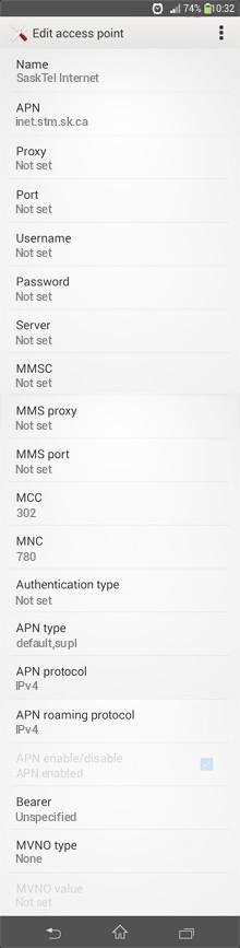 SaskTel Internet APN settings for Android