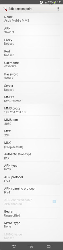 Asda Mobile MMS APN settings for Android