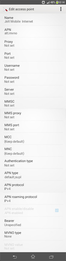 Jolt Mobile  Internet APN settings for Android