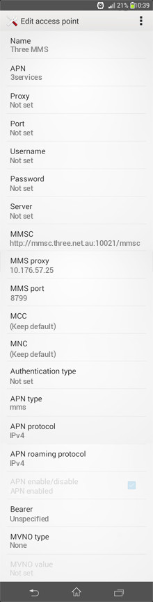 Three MMS APN settings for Android