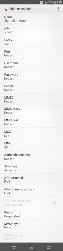 Starhub Internet APN settings for Android