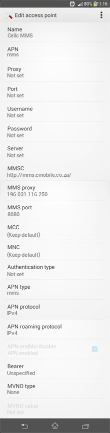 Cellc MMS APN settings for Android