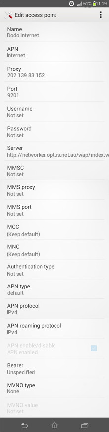 Dodo Internet APN settings for Android