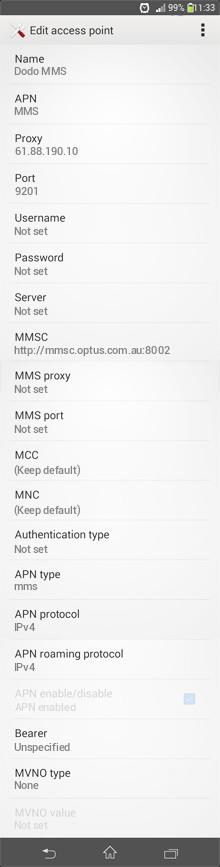 Dodo MMS APN settings for Android