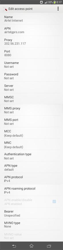 Airtel Internet APN settings for Android