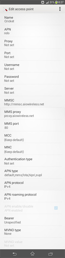 Cricket  APN settings for Android