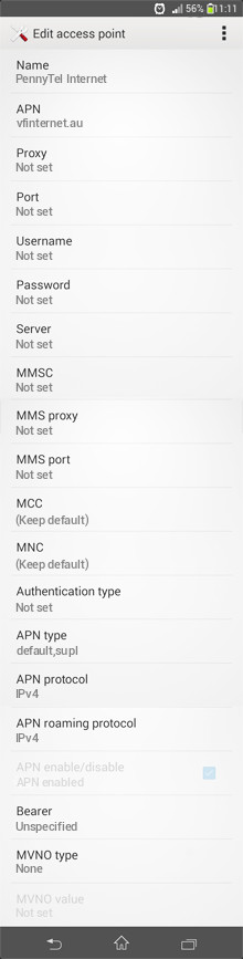 PennyTel Internet APN settings for Android