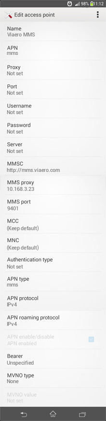 Viaero MMS APN settings for Android