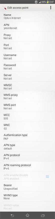 Optus Internet APN settings for Android