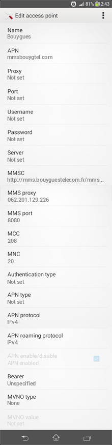 Bouygues  APN settings for Android