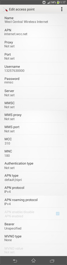 West Central Wireless Internet APN settings for Android