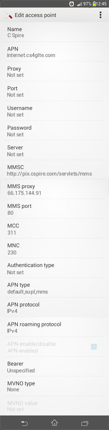 C Spire  APN settings for Android