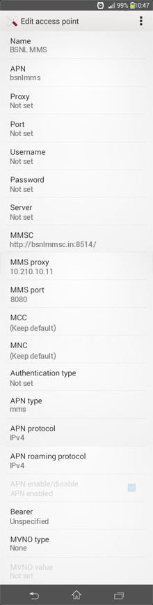 BSNL MMS APN settings for Android