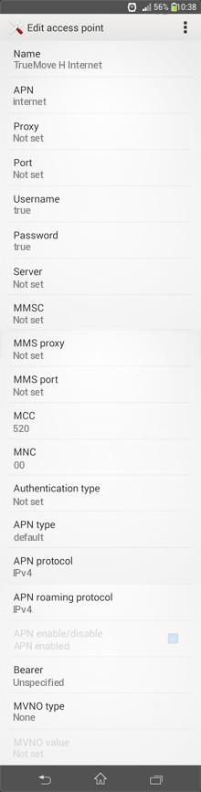 TrueMove H Internet APN settings for Android