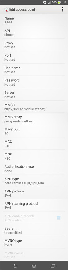 AT&T  APN settings for Android