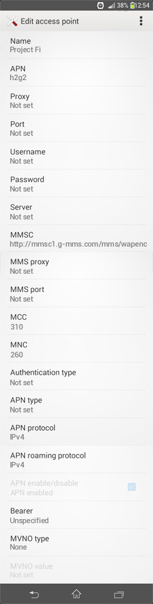 Project Fi  APN settings for Android