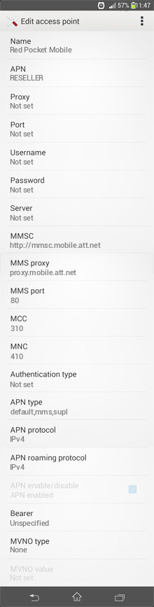 Red Pocket Mobile  APN settings for Android