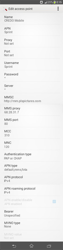 CREDO Mobile  APN settings for Android