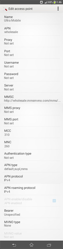 Ultra Mobile  APN settings for Android