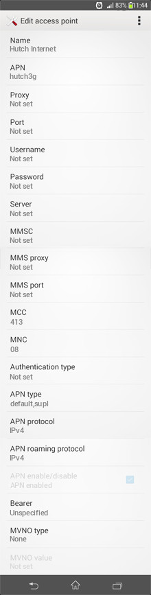 Hutch Internet APN settings for Android