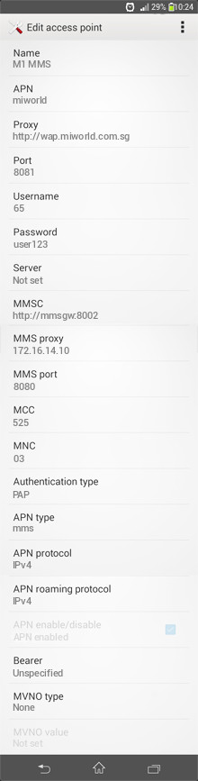 M1 MMS APN settings for Android