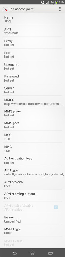 Ting  APN settings for Android