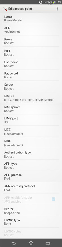 Boom Mobile  APN settings for Android