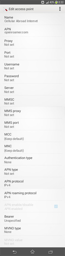 Cellular Abroad Internet APN settings for Android