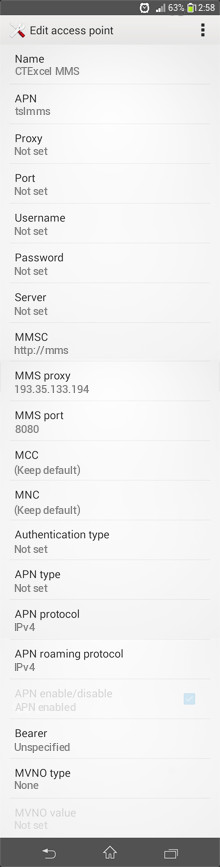 CTExcel MMS APN settings for Android