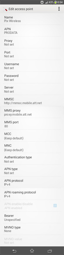 Pix Wireless  APN settings for Android