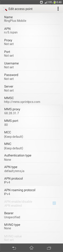 RingPlus Mobile  APN settings for Android