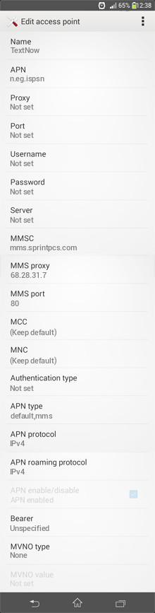 TextNow  APN settings for Android
