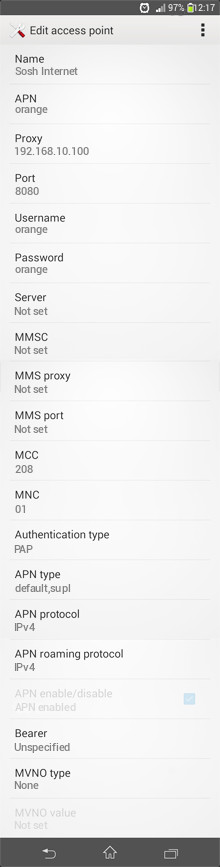 Sosh Internet APN settings for Android