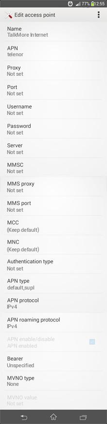 TalkMore Internet APN settings for Android